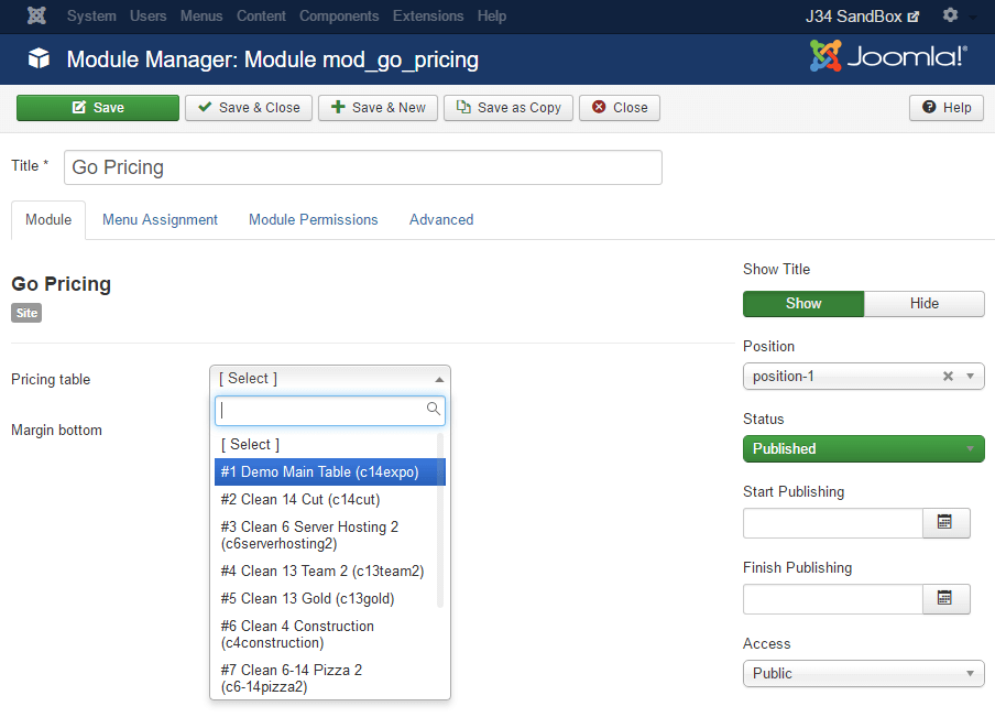 Go Pricing module manager