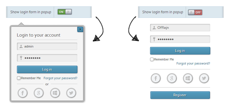 Form in popup