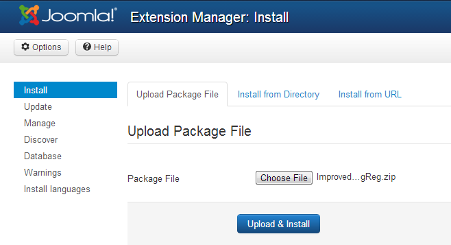 Extension Manager installation