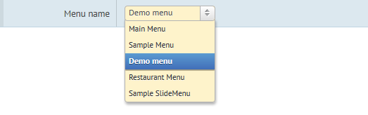 Joomla menu chooser